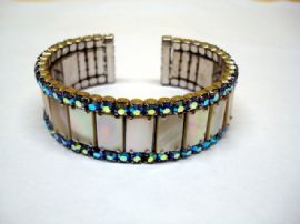 1950's  Bracelet Aurora Crystals & Mother of Pearl  (SOLD)